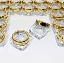 100 Cosmetic Jars Beauty Lip Balm Containers Gold Trim Acrylic Lid 10 Gr... - $125.95