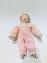Kathy Hippensteel Porcelain Sleeping Baby Girl  Doll Blonde Hair 14 Inch... - $11.09