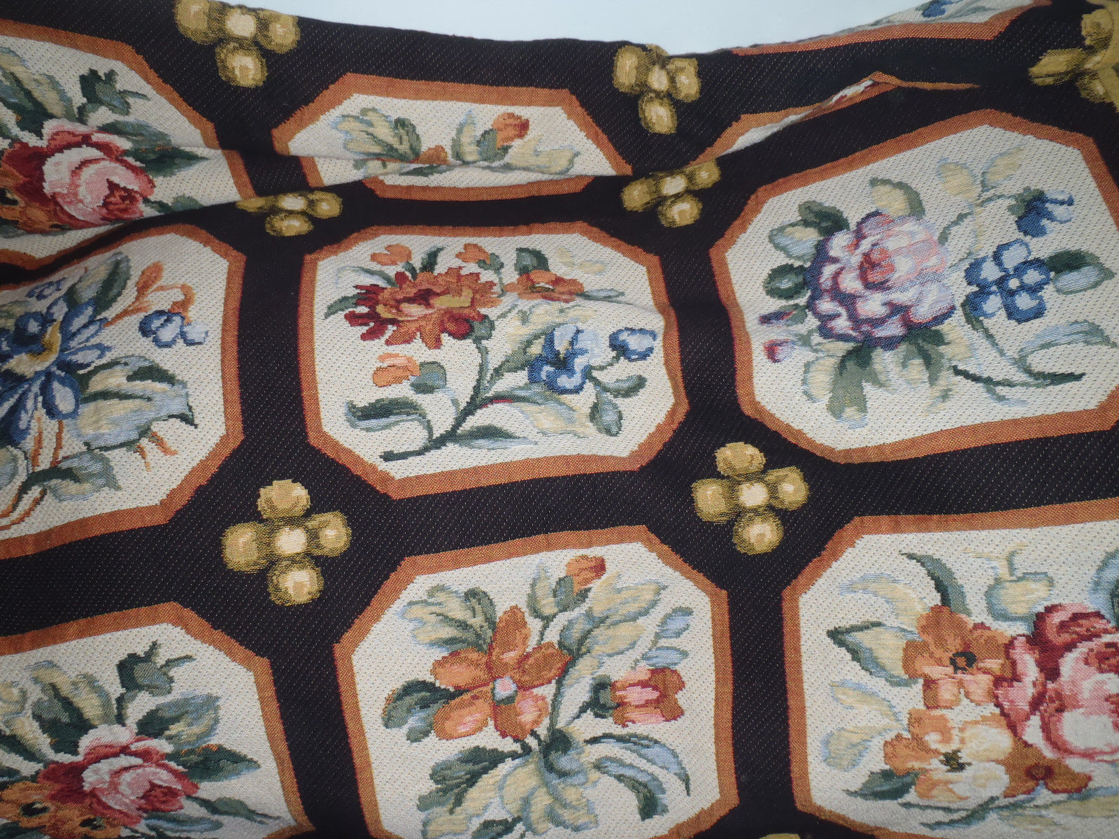 Primary image for Flanders Black Needlepoint Floral Belgian Tapestry bed coverlet 88 x 88