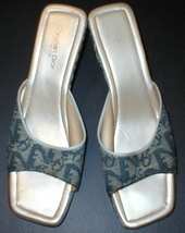 Authentic Christian Dior Slides Wedge Shoes Womens 41 10 Sandals Heels Blue Tan - $89.99
