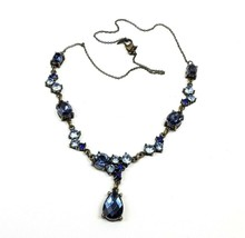 "Vintage Avon Blue Rhinestone Teardrop 18"" Chain Necklace Signed - $15.76"