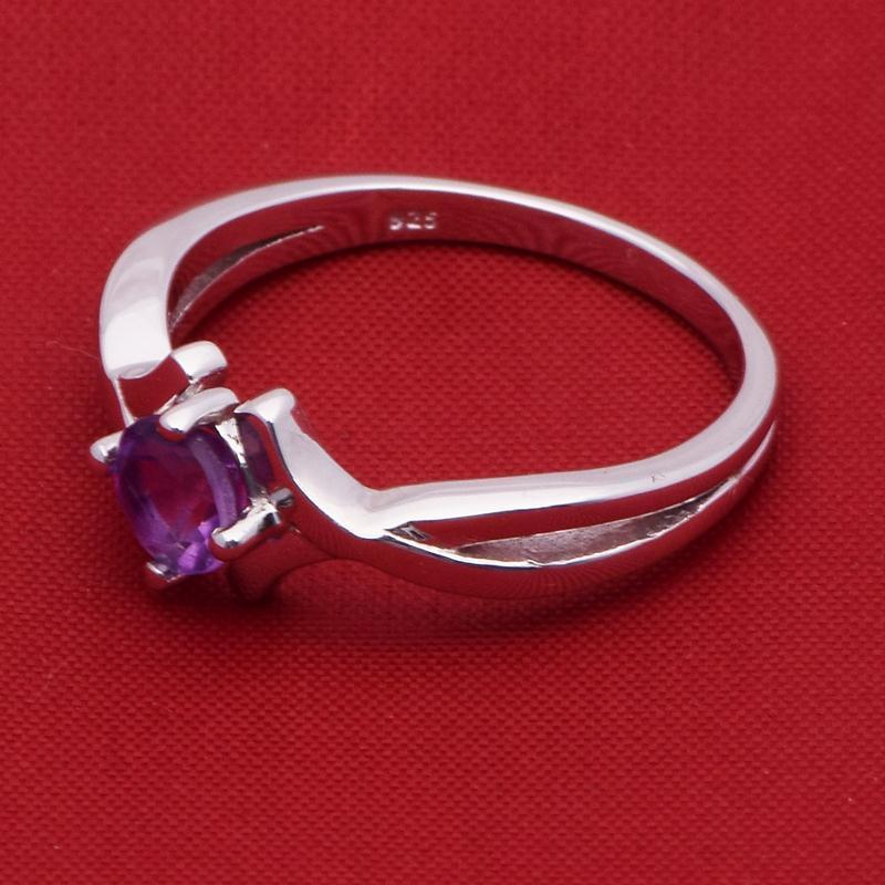 Indian Women Engagement Ring 6 MM Amethyst Gemstone Silver Ring Sz 7 SHRI2416