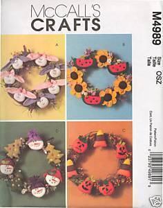 New Holiday Seasonal Wreath Easter Halloween Christmas McCalls 4989 Pattern McCall's
