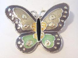 SFJ vintage silvertone Butterfly enamel brooch - $5.00