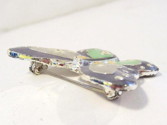 SFJ vintage silvertone Butterfly enamel brooch