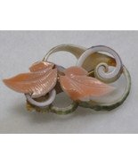 Carved Mother of Pearl Curly Shell Slice Pin Br... - $6.50
