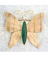 Krementz Mid Century Modern Jade & Rhinestone Tricolor Butterfly Brooch - $29.65