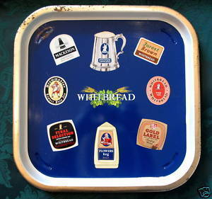 Vintage WHITBREAD BEER Tray British Souvenir Brewmaster Flowers Keg Forest Brown