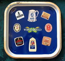 Vintage WHITBREAD BEER Tray British Souvenir Brewmaster Flowers Keg Fore... - $24.95
