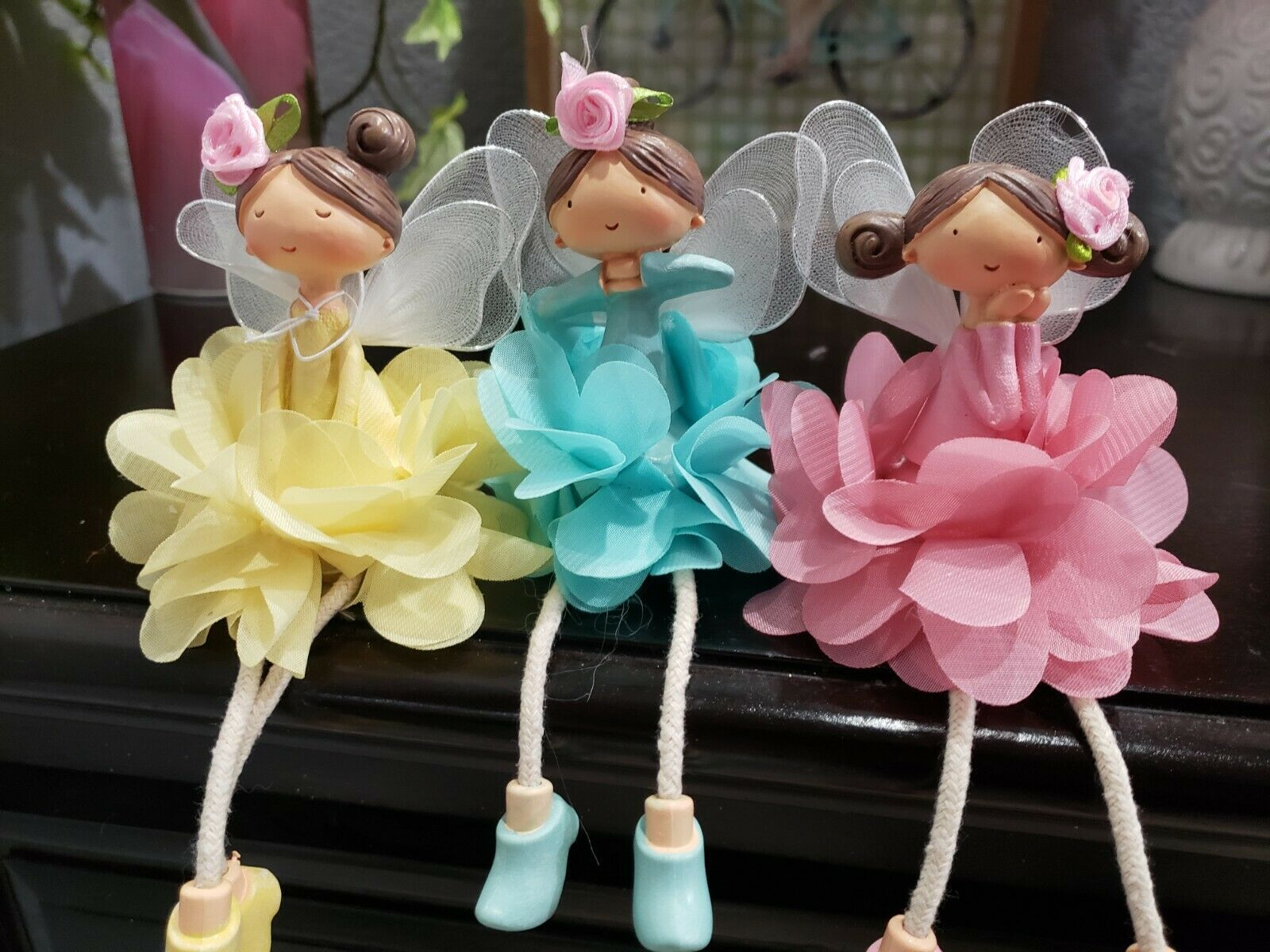 Primary image for (3) GORGEOUS  Easter Spring Fairies Ceramic Figurines Tabletop Home Decor