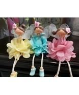 (3) GORGEOUS  Easter Spring Fairies Ceramic Figurines Tabletop Home Decor - $42.99