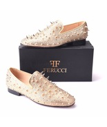 Men FERUCCI Gold Spikes Slippers Loafers Flat With Crystal GZ Rhinestone - $199.99+