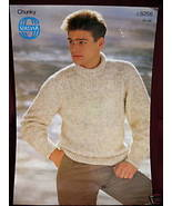 SIRDAR PULLOVER SWEATER KNITTING Pattern MENS - $3.99