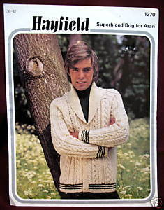 ARAN SWEATER CARDIGAN KNITTING Pattern Booklet HAYFIELD Bonanza