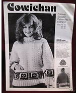 Vintage COWICHAN PULLOVER SWEATER KNITTING Pattern - $6.99