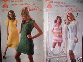 Vintage Patons Knitting Crochet Patterns Dresses - $6.99