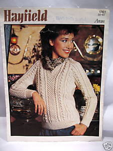 ARAN SWEATER KNIT KNITTING Pattern Booklet HAYFIELD