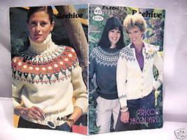 Fair Isle Knits Pullover Cardigan Knitting Pattern - $5.99
