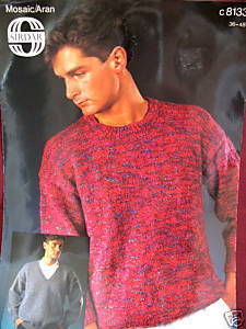 SIRDAR ARAN PULLOVER SWEATER KNITTING Pattern MENS