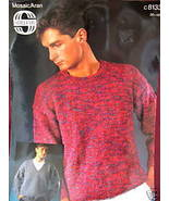 SIRDAR ARAN PULLOVER SWEATER KNITTING Pattern MENS - $4.99
