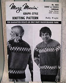 MARY MAXIM CARDIGAN SWEATER KNITTING Pattern Adult Bonanza