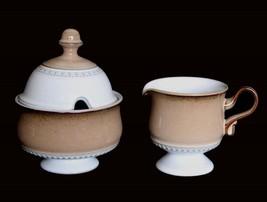 Vintage 3-Pc Denby England SEVILLE Beaded Footed Pottery Creamer & Sugar UNUSED - $38.99