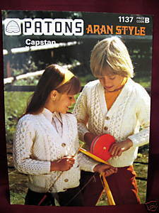ARAN SWEATER CARDIGAN KNITTING Pattern Booklet PATONS Bonanza