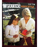 ARAN SWEATER CARDIGAN KNITTING Pattern Booklet PATONS - $4.99