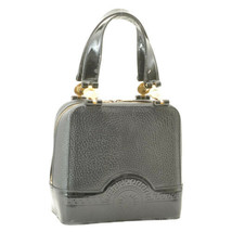 GIANNI VERSACE Enamel Leather Hand Bag Black Auth ar1882 - $360.00