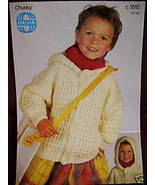 SIRDAR SWEATER JACKET WITH HOOD KNITTING Pattern CHILD. - $3.99
