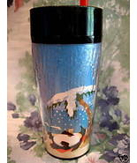 STARBUCKS Coffee Tea TRAVEL CUP MUG PENGUIN BEACH 1997 - $14.99