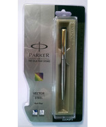 Parker Vector Steel  Ball Pen  With Gold Clip - $19.80