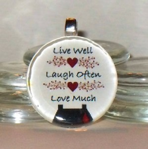 Live Love Laugh Americana Country Glass Tile Necklace