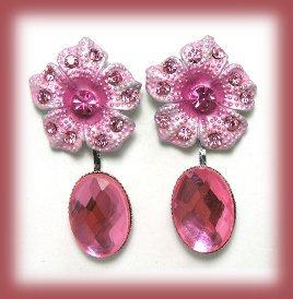 Necklace Earrings Set of Pink Rose Swarovski Crystals