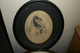 ANTIQUE SEPIA MOTHER BABY PRINT BLACK WOOD OVAL FRAME CHIC SHABBY COTTAGE - £24.12 GBP