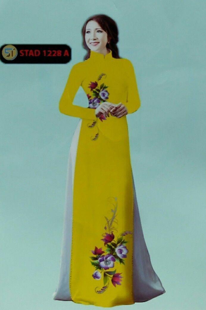 debf9a703827 Yellow Floral Ao Dai Vietnam Custom Made and 50 similar items