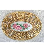 Avon Victorian Style Baroque Pink Roses Cabocho... - $12.00