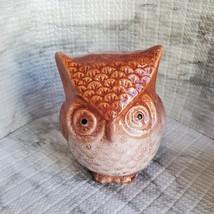 Ceramic Owl Figurine, Orange Rust color, Decorative Accent, Fall Decor, bird