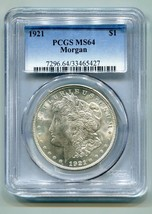 1921 MORGAN SILVER DOLLAR PCGS MS64 NICE ORIGINAL COIN FROM BOBS COINS F... - $74.00