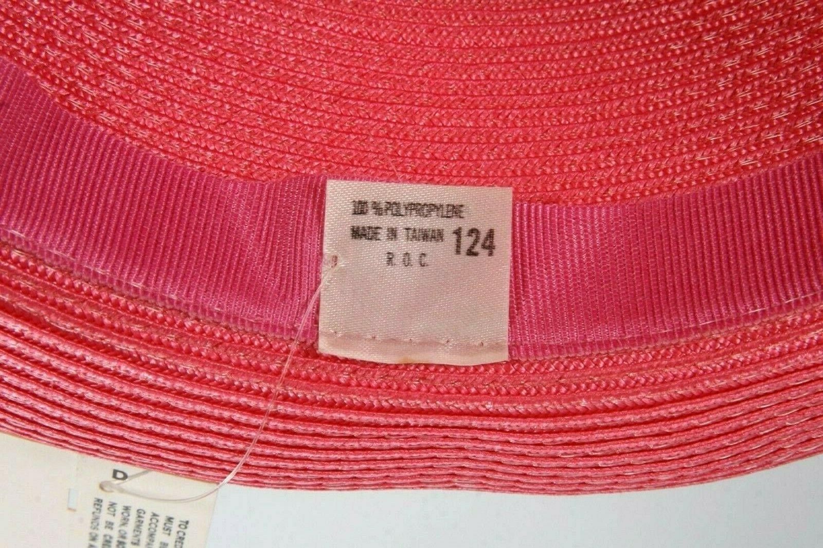 New Rose Pink Straw Gold Trim & Bow Fancy Church Wedding Derby Tea Party Hat