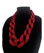 """Vtg Chunky Bright Pink Statement Necklace Plastic Lucite Linked 22"""" A38 - $28.01"""