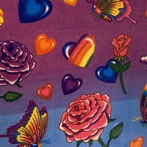 VINTAGE Lisa Frank FULL Sticker Sheet 90s Roses Hearts Butterfly Rainbow S142 image 2