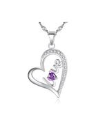 Fashion Women Sterling Silver Zircon Heart Pendant - $14.99