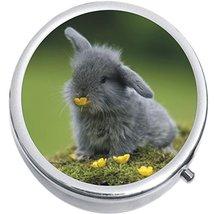 Cute Gray Bunny Medicine Vitamin Compact Pill Box - $9.78
