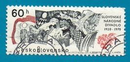 Czechoslovakia Used Stamp (1969) 60h Slovak National Theater Scott # 1613   - $3.99