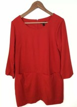 J Crew Jules Dress Red Shift Dress Wool Blend Womens Size 10 Pockets - $43.93