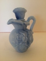 Blue Pitcher Avon Miniature with Lid 1978 Marble Look Glass - $7.91