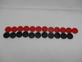 Old Vtg LOT 19 Crown & Star PLASTIC CHECKERS Red & Black Game Tokens - $9.89
