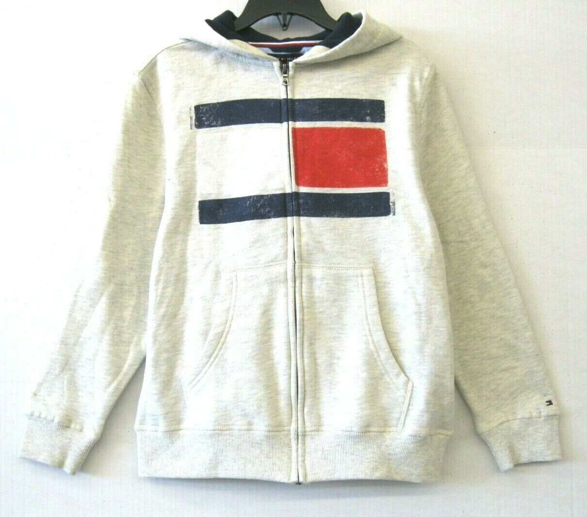 Tommy Hilfiger NWT $45 Big Boys Zip-Hoodie Jacket Oat Heather Size M/12-14 KD718