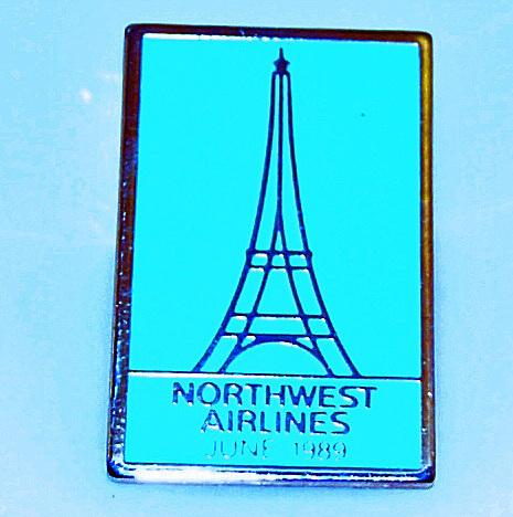Northwest Airlines Eiffel Tower June 1989 Pin Blue